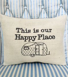 Caravan Cushion Vintage RV Decor Burlap by MakingSomethingHappy