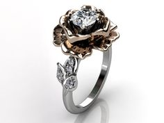 14k two tone white and rose gold diamond unusual unique floral engagement ring.