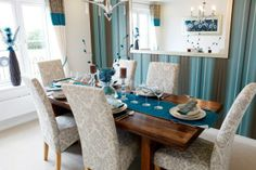 Blue and beige from Taylor Wimpey Sell Your House Fast, Selling Your House, Dining Rooms, Dining Table, Taylor Wimpey, Room Ideas, Decor Ideas, Detached House, Interior Styling
