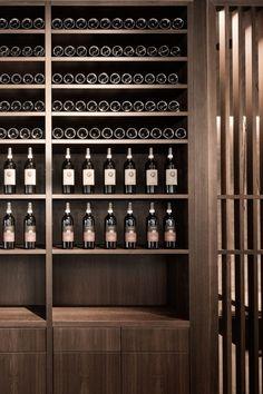 DIA – Dittel Architekten conceptualized and designed the fine food restaurant Enso Sushi & Grill in the Dorotheen Quartier shopping mall in Stuttgart. Wine Bar Design, Wine Cellar Design, Wine Display, Wine And Liquor, Club Design, Wine Cabinets, Italian Wine, Wine Storage, Wine