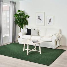 SPORUP Rug, low pile, dark green, 200x300 cm - IKEA Living Room Carpet, Rugs In Living Room, Dark Green Living Room, Professional Carpet Cleaning, White Sofas, Green Carpet, Pet Bottle, Types Of Flooring, Large Rugs