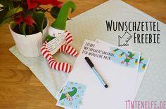 Wunschzettel mit Weihnachtself Free Printable  Tintenelfe.de