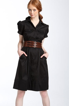 Suzi Chin for Maggy Boutique Belted Cotton Blend Shirtdress    Another black and awesome dress.