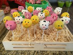 Barnyard/Farm Animals Cake Pops by GoldTreats on Etsy Animal Cake Pops, Farm Animal Cakes, Farm Animal Party, Farm Animal Birthday, Barnyard Party, Farm Birthday, Farm Party, First Birthday Parties, Birthday Party Themes