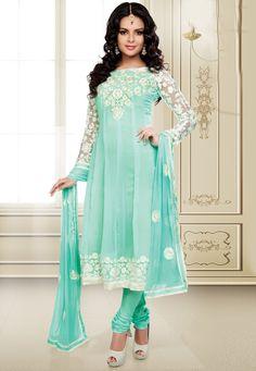 Light Sea Green Faux Georgette Anarkali Churidar Kameez Online Shopping: KAF17