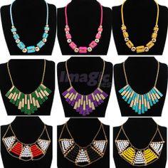 Hot Fashion Women Bubble Bib Statement Necklace Chain Cylinder/Strip/Ball Style #Jewelry #Deal #Fashion
