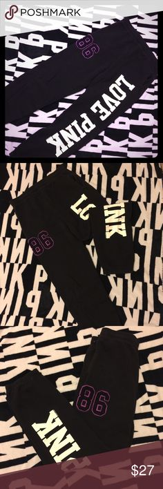 VSPink Classic Lounge Pant VSPink Lounge bottoms; thick material: white Print (no peeling). In great condition! PINK Victoria's Secret Pants Track Pants & Joggers