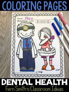 You will LOVE the 20 coloring pages that come in this Dental Health coloring pages resource! Terrific for a daily coloring page OR have a parent volunteer bind them into a DENTAL HEALTH COLORING BOOK for your students. Your students will ADORE these coloring pages because of the cute, cute, cute dental health graphics! Your students can also draw in an Dental Office background and write about their coloring book page on the back. Health Activities, Fun Activities, February Colors, Early Finishers Activities, Dental Health Month, Parent Volunteers, Color Crayons, Coloring Book Pages, Writing A Book