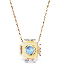 ARK Fine Jewelry - Gateway Indian Moonstone Manifestation Necklace    Handcrafted in 18-karat yellow gold.  Detailed in Indian moonstone and diamonds.  Pendant measures 7/8-in. long.  Necklace measures 15 1/2-in. long.  Finished with a lobster clasp.