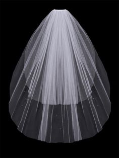 Glistening Two Layer Fingertip Wedding Veil with Scattered Rhinestones - Affordable Elegance Bridal -