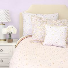 Caden Lane Baby Bedding - Lilac and Gold Sparkle Duvet Cover, $149.00 (http://cadenlane.com/lilac-and-gold-sparkle-duvet-cover/)