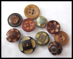 Vintage Lot of Colorful Carved Vegetable Ivory Buttons 10 ...Sold for $13.25