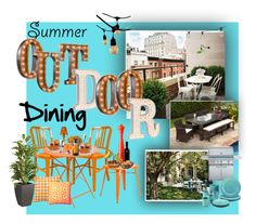 """""""Summer Outdoor Dining"""" by marionmeyer on Polyvore featuring interior, interiors, interior design, Zuhause, home decor, interior decorating, Vintage Marquee Lights, Source Outdoor, Bulbrite und Frontgate"""