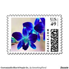 Customizable Blue and Purple Orchid Postage Stamps. Floral stamps feature aqua, royal blue, and purple dendrobium orchids. Can be personalized with your own text, monogram, names, date, etc in your fav fonts and colors. Great for every day correspondence or wedding, bridal shower, engagement or anniversary party invitations, announcements, save the dates, thank you notes, etc. Available horizontal or vertical, different colors, different postage denominations, and other matching products.