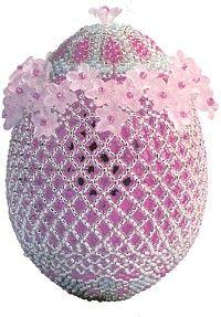 Пасхальные яйца, оплетенные бисерной сеткой