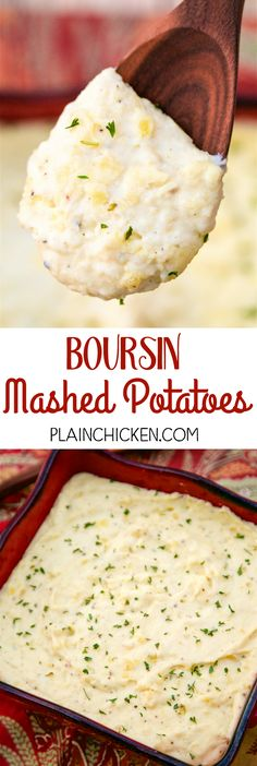 Boursin Mashed Potatoes - AMAZING!!! Creamy, buttery and out-of this world delicious! Yukon gold potatoes, Boursin cheese, cream cheese, butter, salt, pepper, half-and-half. So easy and they taste amazing! Perfect for holiday meals!!