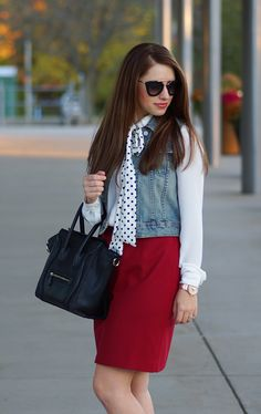 Fall layers, dressed up red skirt, Put a Bow on It //Happy Medley