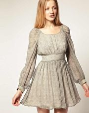 French Connection Silk Dress With Bell Sleeve, bell sleeve - glad to see them on a lot of dresses lately
