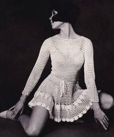 Vickie Tiel 1962 The see through Mini Dress, made of lace or crochet, was worn by Vicky Tiel while working at the Cafe Wha in Greenwich Village, NYC in 1962