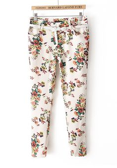 Multicolored colors floarl print pants with belt. add some colors to your  wordrobe bf66eeaa26ea