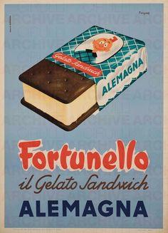 Mario Menzardi Alemagna. Fortunello, il gelato sandwich , 1953