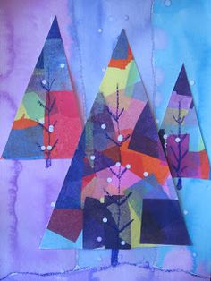 "Colorful Abstract Winter Trees: rectangled tissued a poster board. Cut board into triangle tree shapes. Glued trees to watercolor paper that has been divided into three sections. Use Oil pastel to draw ""v"" shapes on trees. Hole puncher white paper for snowfall effect."