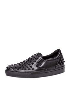 N29XY Valentino Rockstud Men's Slip-On Sneaker, Black