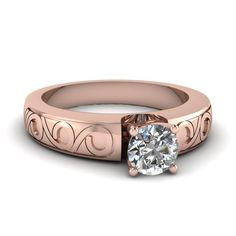 Filigree Ring    Round Cut Diamond Solitaire Ring With White Diamond In 14k Rose Gold