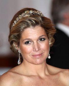 ♥•✿•QueenMaxima•✿•♥... Queen Máxima wearing the Dutch Diamond Bandeau, also known as the Rose Cut Diamond Bandeau.