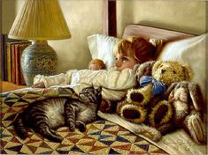 Cat and people paintings. Jim Daly - Early Risers.