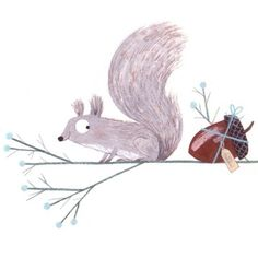 Christmas Squirrel with Acorn Present by Christine Pym