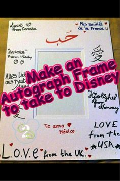 Here is a creative autograph idea for Walt Disney World. One of my favorite Disney Souvenirs is our autographed frame from Epcot.  We stopped at each Kidcot station and had them write a message in their language! Do you get unique items autographed at Disney?