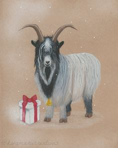 Finished my Yule Goat! I think he looks very wise and a little bit up to something. 🤔🎄🎁  kivamariecreations.com #makemindfulart #gouache #gouacheillustration #gouachepainting #art #artist #illustration #illustrator #queerartist #canadianartist #novascotiaartist #yule #yuleartwork #yulegoat