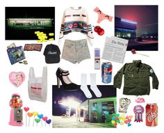 """""""Queen of the Gas Station"""" by stvrlet ❤ liked on Polyvore featuring Wet Seal, Tony Moly, Zone, Miss Selfridge, Hello Kitty, Kate Spade, lanadelrey, lolita, nymphet and nymphetfashion"""