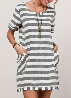 FloryDay / Stripe Short Sleeve Above Knee Shift Dress - Damen Mode 2019 Shift Dresses, Day Dresses, Dress Outfits, Casual Dresses, Fashion Dresses, Spring Dresses, Striped Shorts, Striped Dress, Short Sleeve Dresses