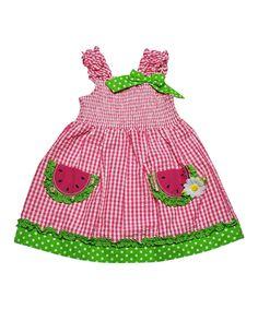 Pink Gingham Watermelon Dress - Girls by Samara #zulily #zulilyfinds