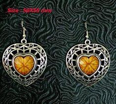 Brown Lady's Tibetan Silver Heart Gemstone Agate Dangle Earrings Jewelr
