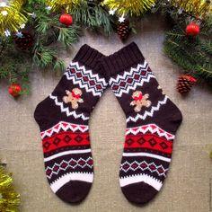 27287f66fada1 Купить Вязаные шерстяные носки новогодние Пряничный человечик - новогодние  носки, Носки шерстяные