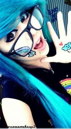 emo girl blue hair with glasses