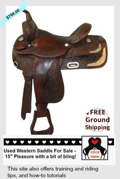 """#usedwesternsaddlesforsale.  Check out this 15"""" western saddle ready for the trail OR with a bit of bling for the show ring!"""