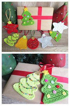 Weihnachtliche Geschenkeanhänger zum Häkeln - Häkelanleitung via Makerist.de