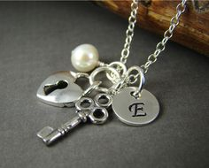 3 Personalized Initial Vintage Key Lock Charm Necklaces for Bridesmaids, Sterling Silver Wedding Jewelry