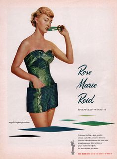 f2add0011c Sculptured Swimwuits by Rose Marie Reid, 1951. Fifties Fashion, Rockabilly  Fashion, Retro