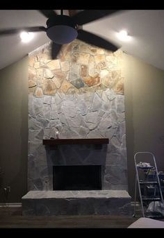 Kitchen Living Rooms Remodeling whitewash your stone fireplace for under 20 - Did y'all know you can whitewash a stone fireplace? Super easy, very cheap, and can make a huge difference. I loved the stone fireplace in our home but it was… Whitewash Stone Fireplace, White Wash Fireplace, Stone Fireplace Makeover, Paint Fireplace, White Wash Brick, Fireplace Remodel, Modern Stone Fireplace, Fireplace Update, Fireplace Ideas
