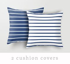 2 Nautical cushion covers. Navy blue and white by LatteHome