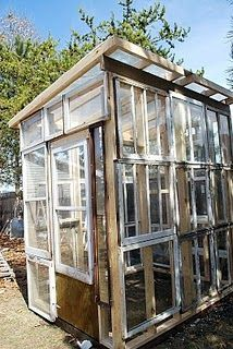 recycled windows turned into a greenhouse  Get 'em at ReStore