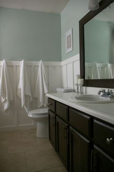 wall color:  sherwin williams sea salt...like the dark wood on cabinets & mirror along with the white & light paint