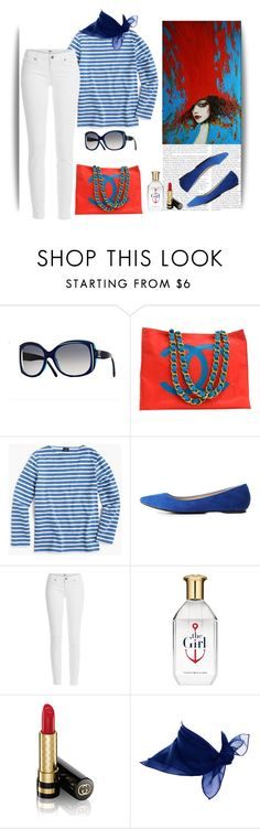 """""""~red bag~"""" by confusgrk ❤ liked on Polyvore featuring Chanel, J.Crew, Charlotte Russe, Paige Denim, Tommy Hilfiger, Gucci and AmiciMei"""