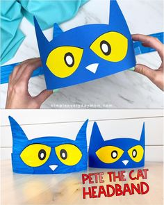 Make this simple Pete the Cat headband craft with your preschool, kindergarten and elementary aged kids. It's easy when you use our free printable template so Cat Headband, Headband Crafts, Toddler Crafts, Diy Crafts For Kids, Art For Kids, Preschool Books, Preschool Crafts, Preschool Kindergarten, Classroom Crafts