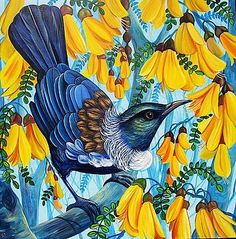 Spring in the Air by Irina Velman Paintings Famous, Bird Paintings, Maori Patterns, Let's Make Art, New Zealand Art, Nz Art, Fence Art, Wall Art For Sale, Native Art